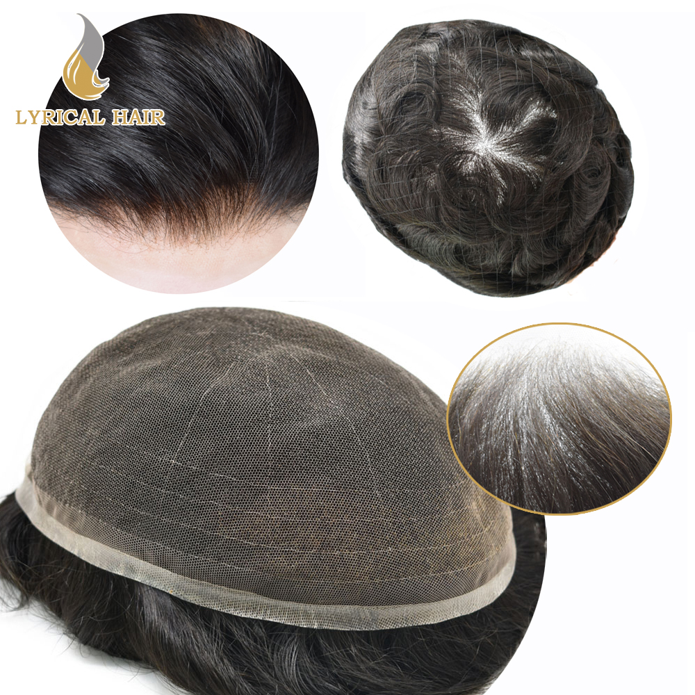 Mens Toupee Hair-System Replacement Natural-Hairline French Gray Full Light-Density Transparent