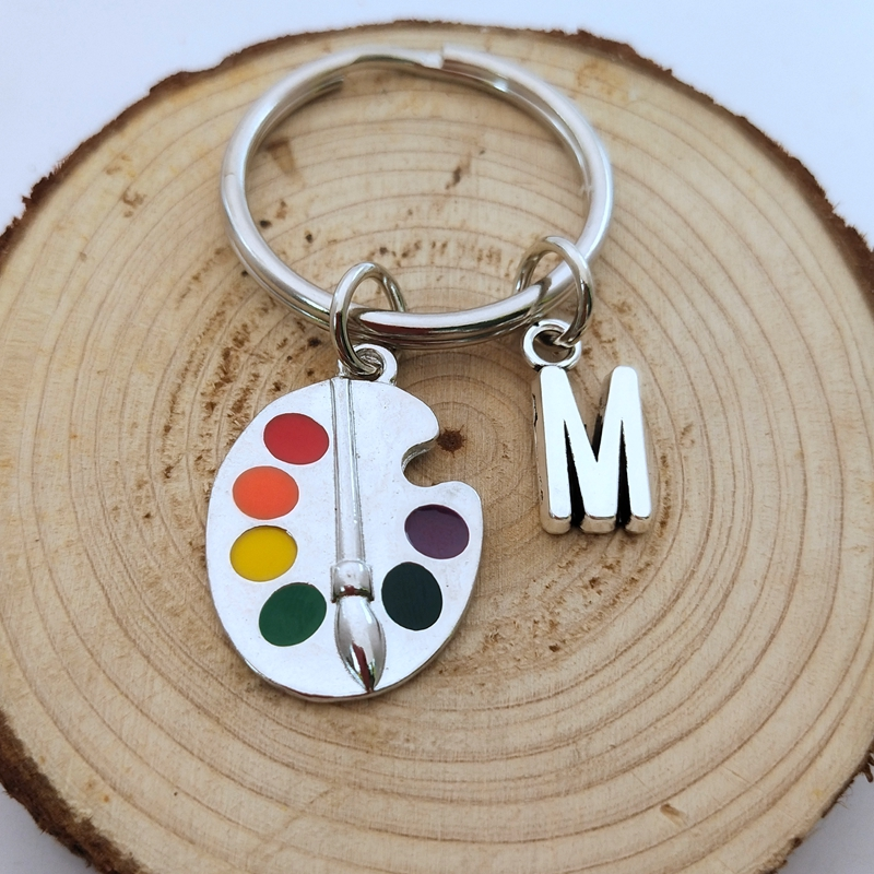 NEW Painters Tools-Palette & Brush Keychain Personalized Letter A-Z  Charm Pendant Key Chain Ring DIY Fit Keychain