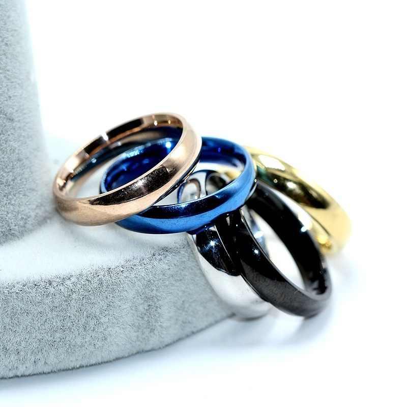 Anillos de acero inoxidable de oro rosa para mujer joyería anillo de oro hombres pareja Anillos De Compromiso hombres boda promesa anillo mujer Regalos