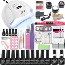 UV Nail Lamp Manicure Set Choose 10 Colors Gel Polish Base Top Coat Nail Kits Extension UV Gel Kit Electric Manicure Handle Kit
