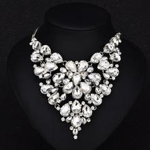 New Women Necklace Exaggerated Full Water Drop Crystal Gem Pendant Color-preserving Vacuum Plating Necklace Jewellery цена 2017