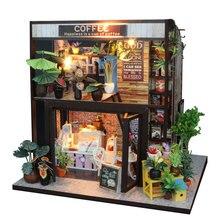 DIY Дом Миниатюрный Кукольный Дом DIY 3D Деревянный кукольный домик кофе магазин ручной работы микро-пейзаж ручной работы мигающая игрушка Обучающие руки