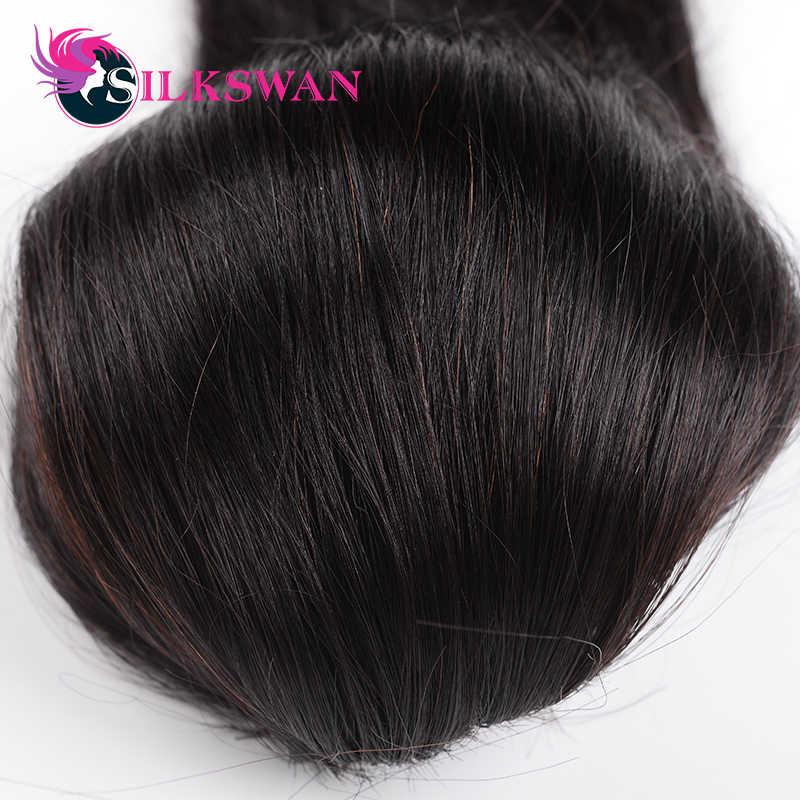 Silkswan прямые волосы на заколках для наращивания конского хвоста натуральный цвет 100% Человеческие волосы remy на шнурке регулируемые для черных женщин