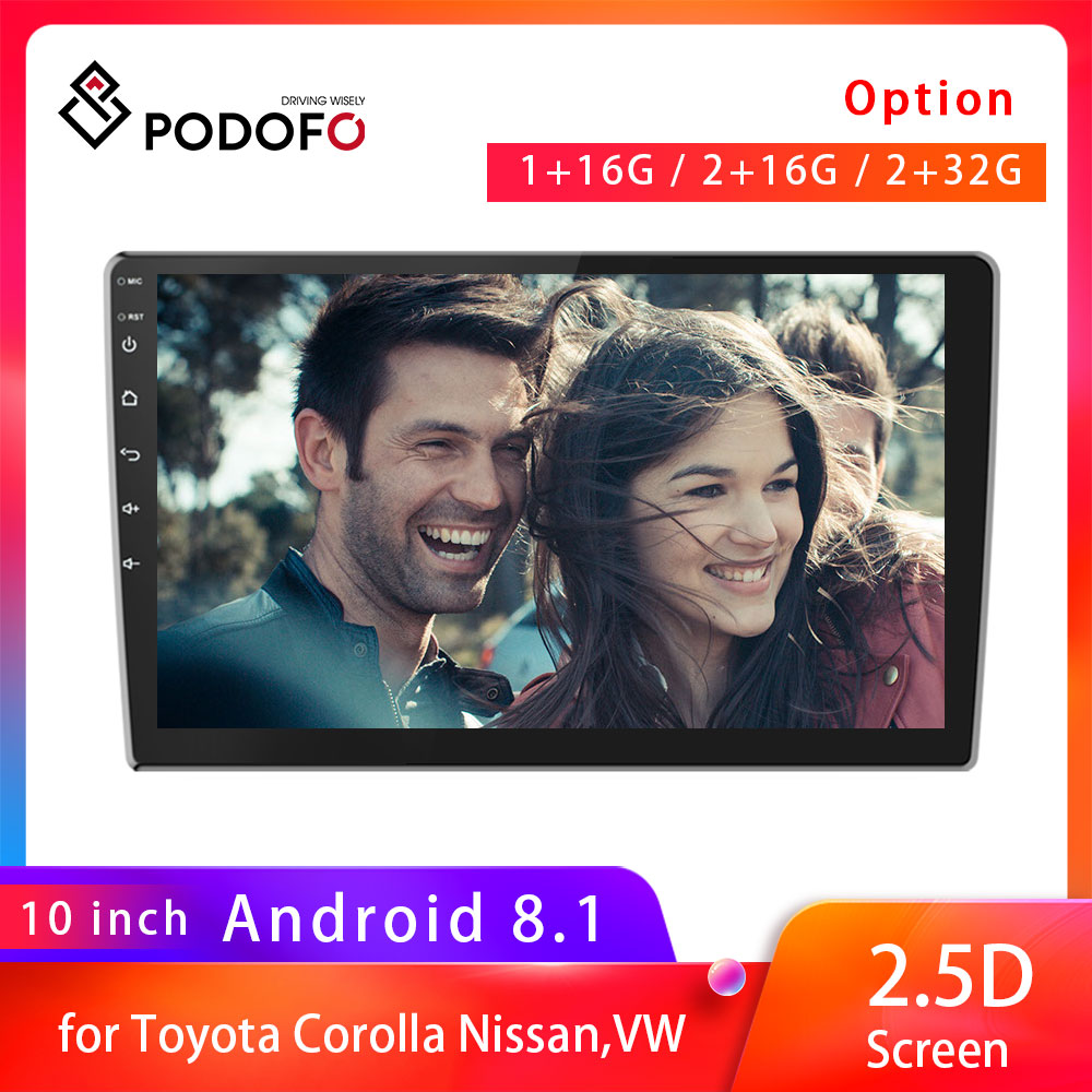 Podofo 9216 Upgraded 2 Din Android 8.1 Radio Double 2.5D Car Stereo GPS Navigation Bluetooth WiFi USB Radio For Toyota Corolla