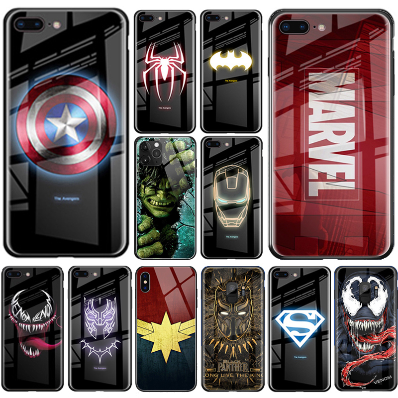 Luxury Marvel Luminous Tempered Glass Case For iPhone