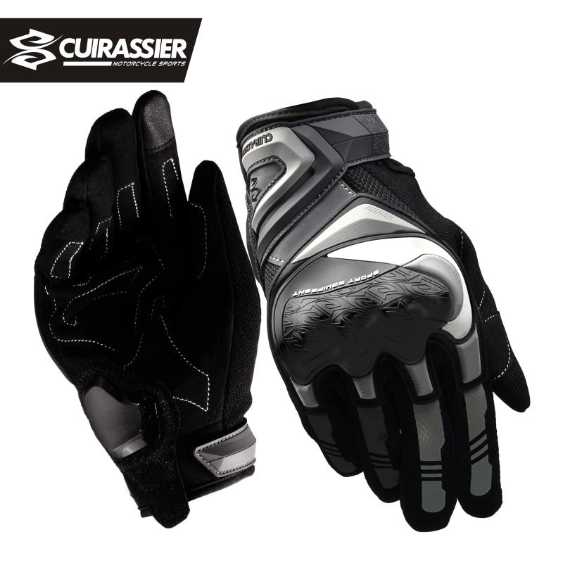 Перчатки Cuirassier мужские летние мотоциклетные, дышащие защитные перчатки для езды на мотоцикле и велосипеде, с сенсорным экраном