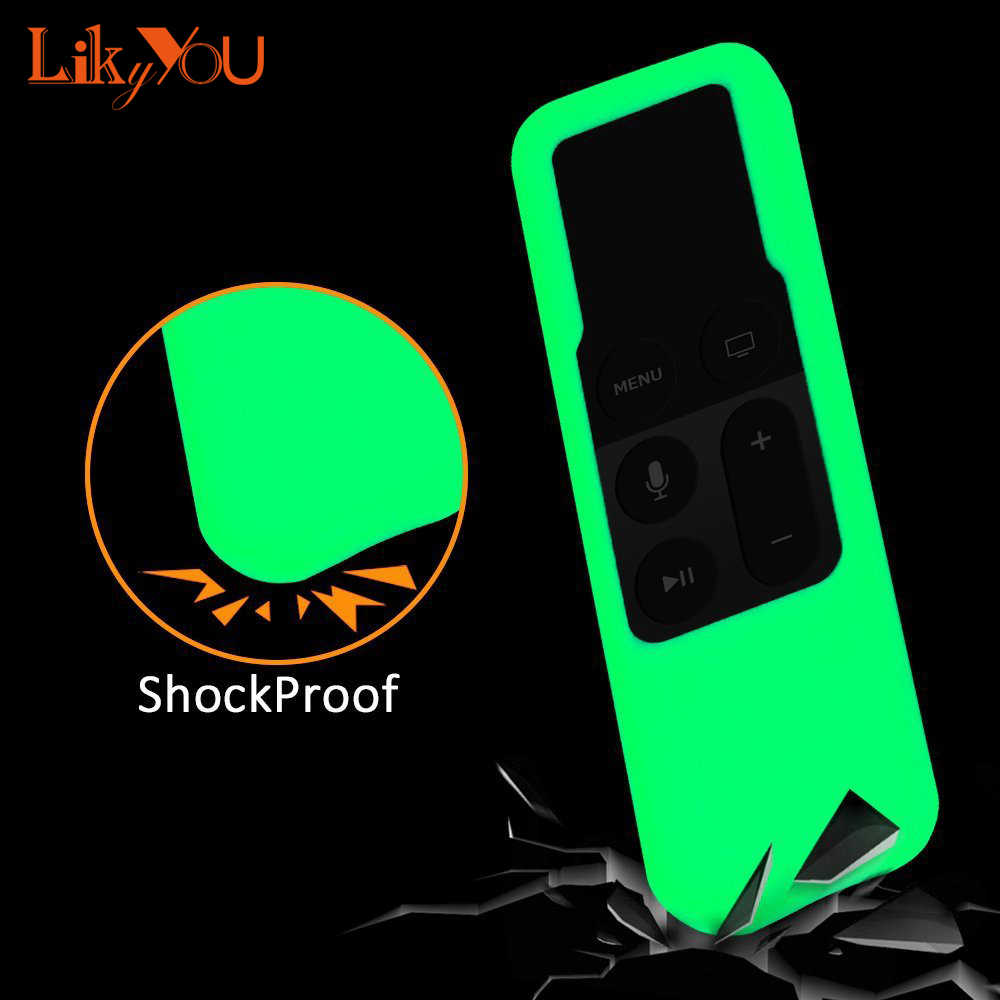 4 Warna Ringan [Anti Slip] Shock Bukti Silicone Luminous Remote Cover Case untuk Apple TV 4th gen Siri Remote Controller