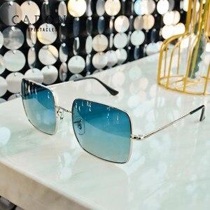 Image 2 - CAPONI lunettes de soleil carrées polarisées pour femmes, nouvelle marque Design, cadre métallique, grande monture, verres dégradés, Oculos CP1971, 2020