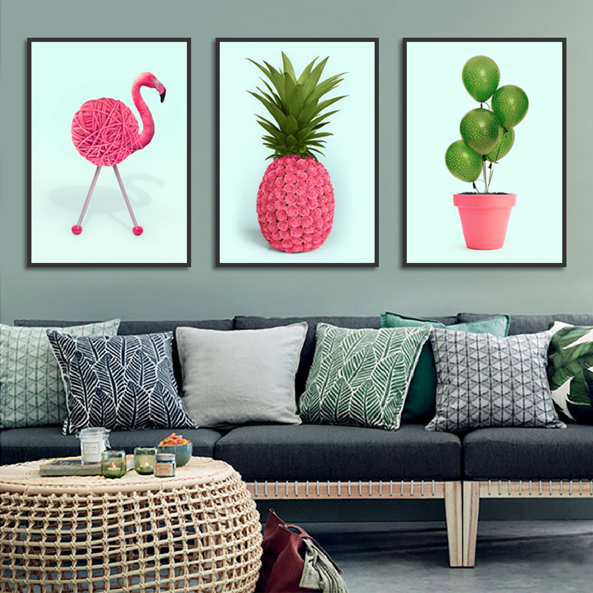 Simple Pineapple And Flamingo Poster Print Art Canvas Painting Picture Aisle Home Wall Art Graffiti Bedroom Modern Decoration