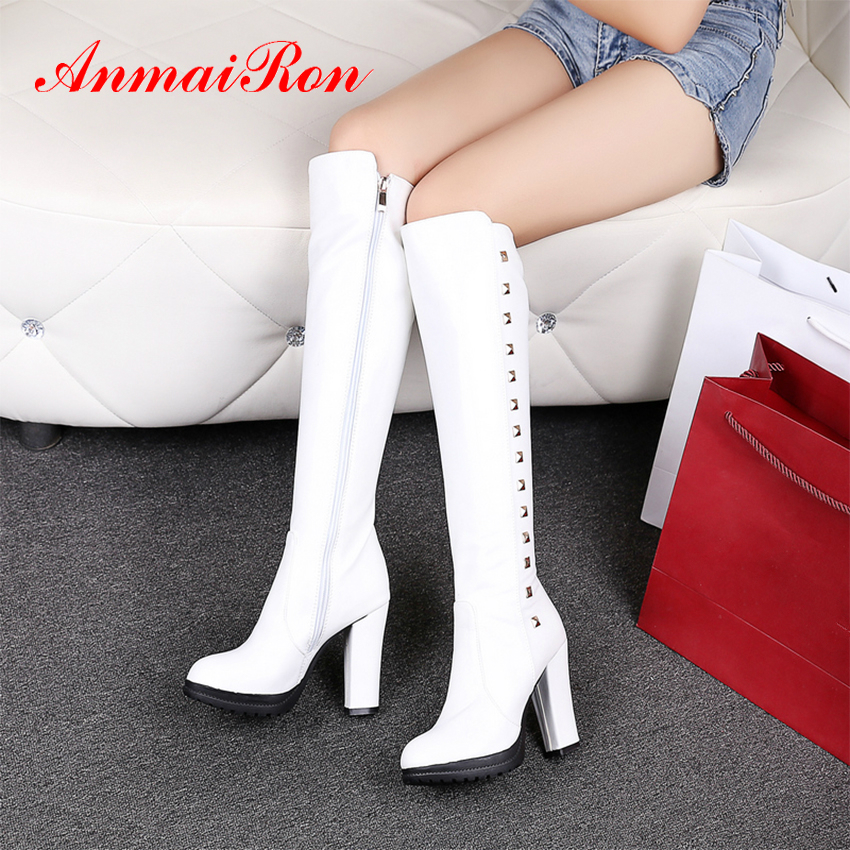 ANMAIRON Knee High Womens Winter Fashion 2018 Rain Boots Women Leather Boots White BootsSquare Heel Zip Solid Snow Boots