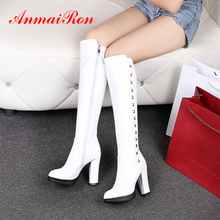 ANMAIRON Knee High Womens Winter Fashion 2018 Rain Boots Women Leather White BootsSquare Heel Zip Solid Snow