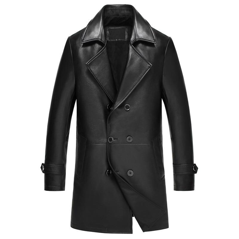 Leather Jacket Men Genuine Sheepskin Coat Autumn Winter Jacket Men Streetwear Windbreaker Long Coats 5xl Chaqueta LSY360 MY1675