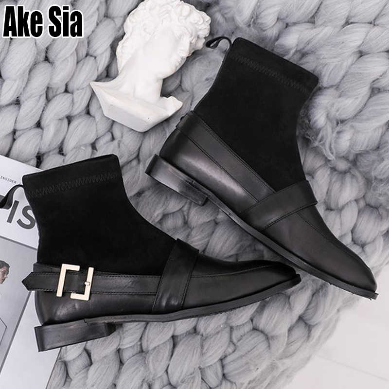 Botas de Mujer Otoño Invierno para Mujer con tacones gruesos bajos hebillas de tobillo corto botas de cuero de gamuza femenina calcetines de Mujer Zapatos de fondo C083