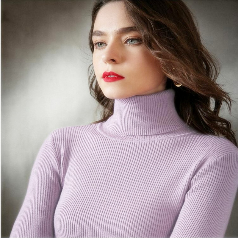Sweater Pullover Soft Jumper Knitted Turtleneck Fashion Femme Casual Women Summer VK
