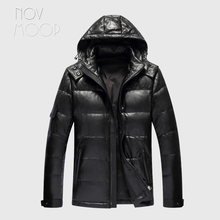 Novmoop canada black slim clothes hooded sheepskin genuine leather down jacket male winter thick coat jaqueta masculino LT2833