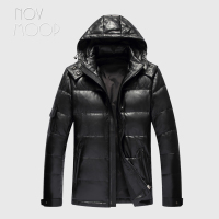 Novmoop canada black slim clothes hooded sheepskin genuine leather down jacket male winter thick coat jaqueta masculino LT2833
