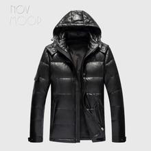 Novmoop カナダ黒スリム服フード付きシープスキン本革ダウンジャケット男性冬の厚手のコート jaqueta masculino LT2833