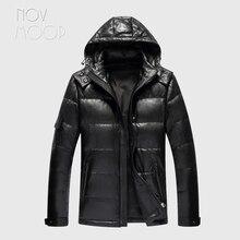 Novmoop kanada siyah ince elbise kapşonlu koyun derisi hakiki deri aşağı ceket erkek kış kalın ceket jaqueta masculino LT2833