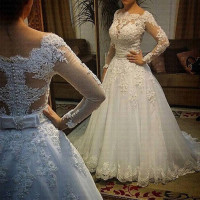 Vestido De Noiva Full Sleeves Wedding Dresses Sexy Back Bride Dresses Wedding Gowns