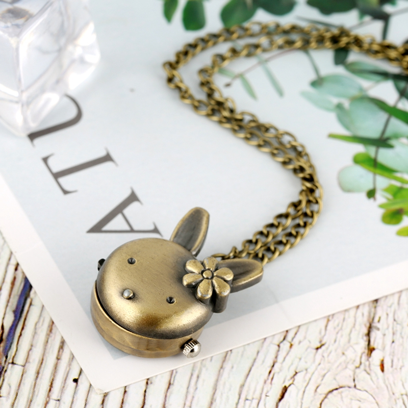 Women's Lovely Rabbit Shape Flower Pocket Watch For Girls Retro Bronze Classic Full Hunter Pendant Chain Necklace Watch Kids Toy