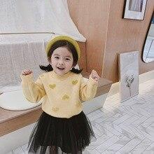 New autumn Korean style sweet candy color velvet heart jacquard long-sleeved sweater for girls