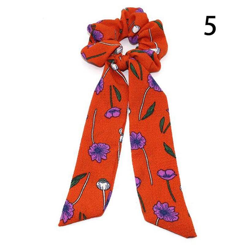 Femmes banderoles chouchous à pois imprimé Floral élastique noeud cheveux corde fille cheveux cravates coréen doux cheveux accessoires chapeaux 55