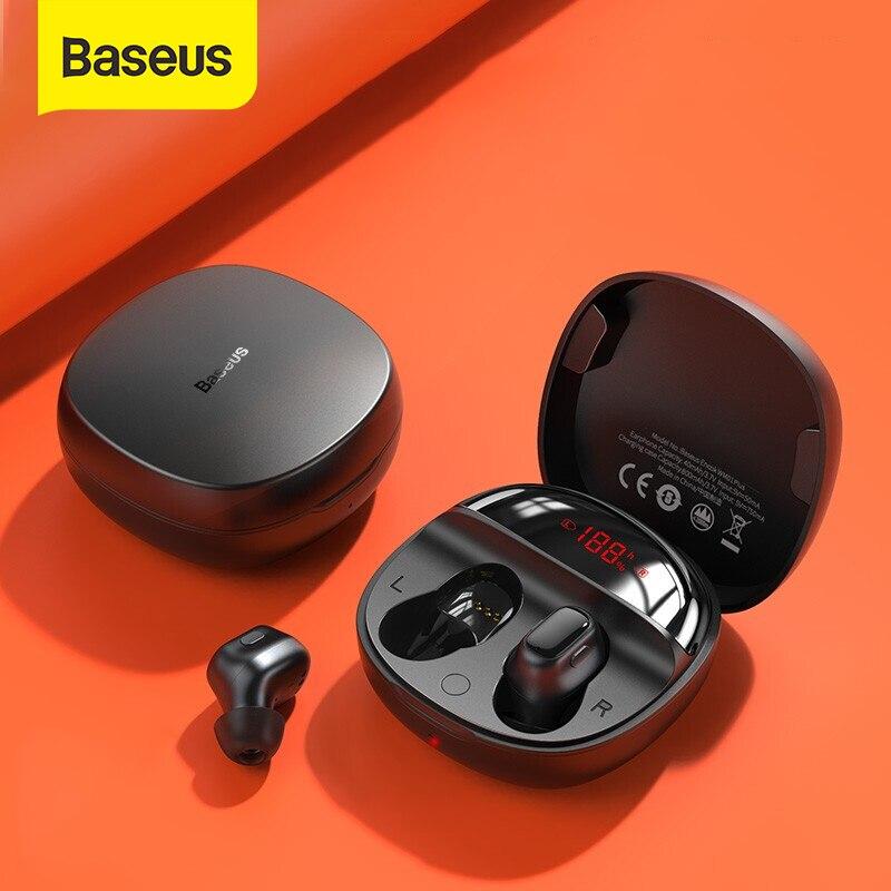 Baseus WM01 Plus słuchawki bezprzewodowe TWS Bluetooth 5.0 słuchawki Stereo sportowe wodoodporne słuchawki z cyfrowym wyświetlaczem LED