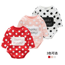 Baby Romper Long Sleeve Dot Triangle Baby Girl Outerwear Cute Baby Crawler cheap COTTON Fashion Unisex Fits true to size take your normal size Sets New Baby Boy Clothes Bodysuit Long Pants Hat Easter Set