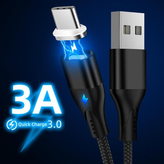 Magnetic 3A USB Cable For Huawei Samsung Charger Quick Charge 3.0 Micro USB Type-C Magnet USB-C  3A Fast Charging Data Cord