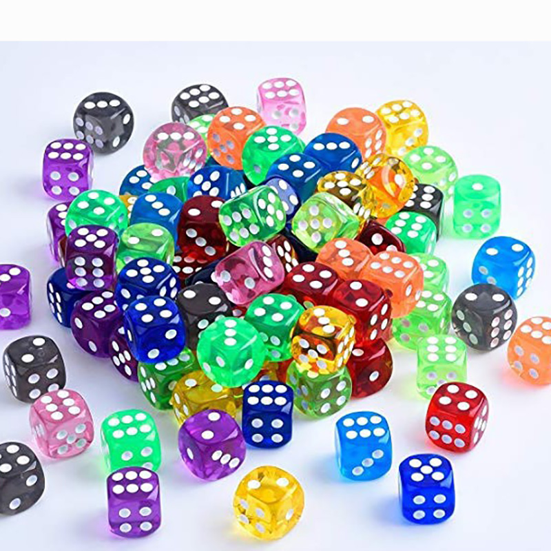 10PCS/Lot Dice Set 11 Colors  High Quality Transparent Acrylic 6 Sided Dice  For Club/Party/Family Games 16 Mm