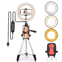 Led ışık halkası Selfie Tripod lamba halka Selfie telefon Youtube aydınlatma fotoğraf kamera fotoğraf klip tutucu ekipmanları