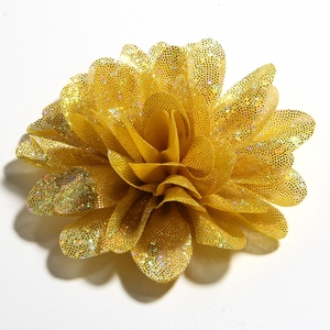 """Image 4 - 50PCS 8CM 3.1"""" New Artificial Metallic Fabric Flower For Hair Accessories Chiffon Shiny Scallop Flowers For Wedding Boutique"""
