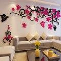 Flor de cristal tridimensional árvore adesivos de parede acrílico sofá adesivos de parede decoração para casa diy auto-adesivo removível