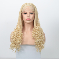 AIMEYA 613 Blonde Synthetic Braids with Water Wave Lace Wig Deep Curly End Box Micro Braided Lace Front Wigs for Women Cosplay