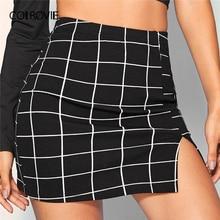 COLROVIE minifalda negra con parte delantera abierta para mujer, falda Sexy informal de cintura alta, ceñida a cuadros, 2019