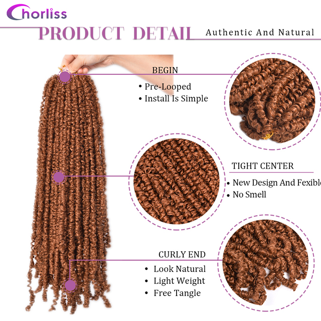 Passion Twist Crochet Hair Synthetic Braiding Hair Extensions 18Inch 15 Strands Spring Twist Hair 100g/Pack Long Black Brown 4