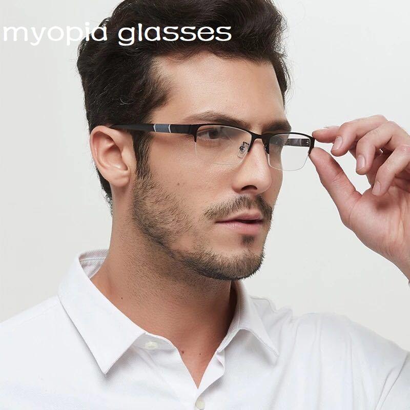 1  1.5  2  2.5  3  3.5  4  4.5  Myopia Glasses Men Retro Metal Frame Square Students Myopia Glasses Frame For Women 2020