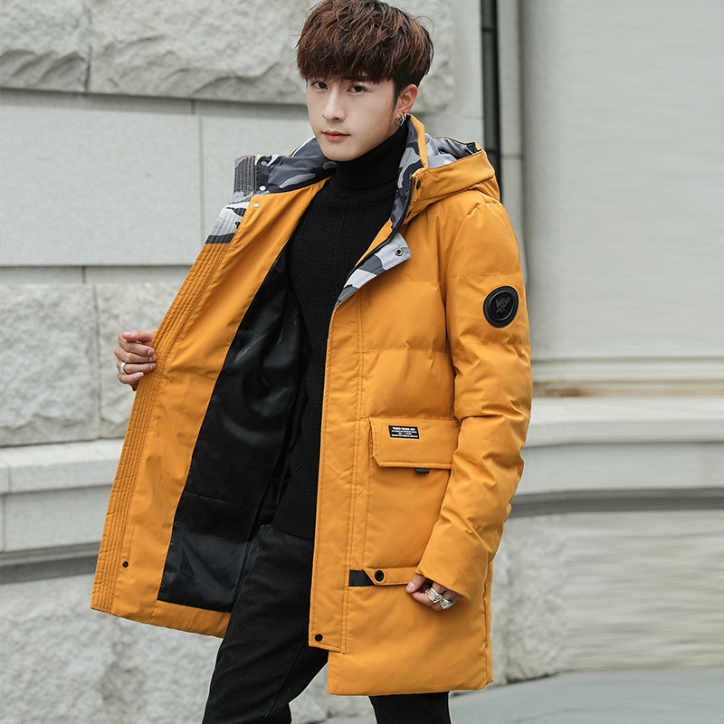 Main Push Winter Men Cotton Overcoat Hooded Thick Mid-length Cotton Coat Korean-style Trend Students Casual Fashion
