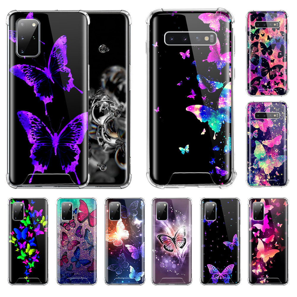 Phone Case For Samsung Galaxy S20 FE S21 S10 S8 S9 Plus S10e Note 20 Ultra 10 Lite Airbag Soft Covers Cute Colorful Butterfly