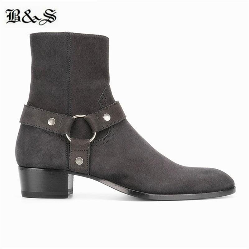 Black& Street  dark gray suede leather men harness wyatt buckle strap leather Boots handmade quality denim Boots