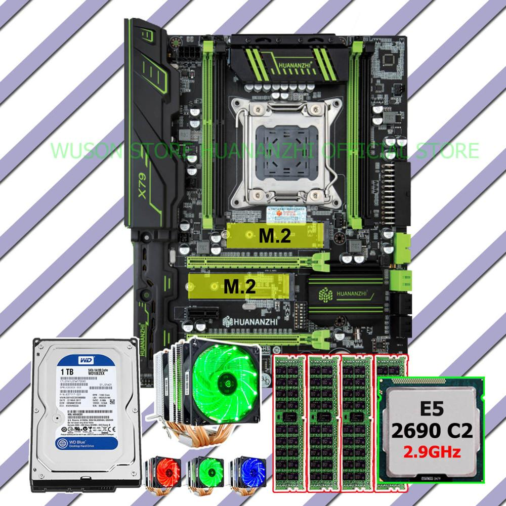 Discount HUANANZHI X79 Pro motherboard bundle dual M.2 slot CPU <font><b>Xeon</b></font> E5 <font><b>2690</b></font> 2.9GHz 6 tubes cooler RAM 32G(4*8G) 1TB SATA3.0 HDD image