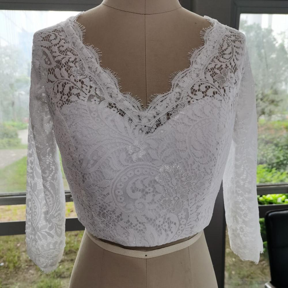 V-Neck Bridal Bolero Long Sleeve Wedding Jacket Shawl White Ivory Lace Applique Custom Size Wedding Accessories Jackets