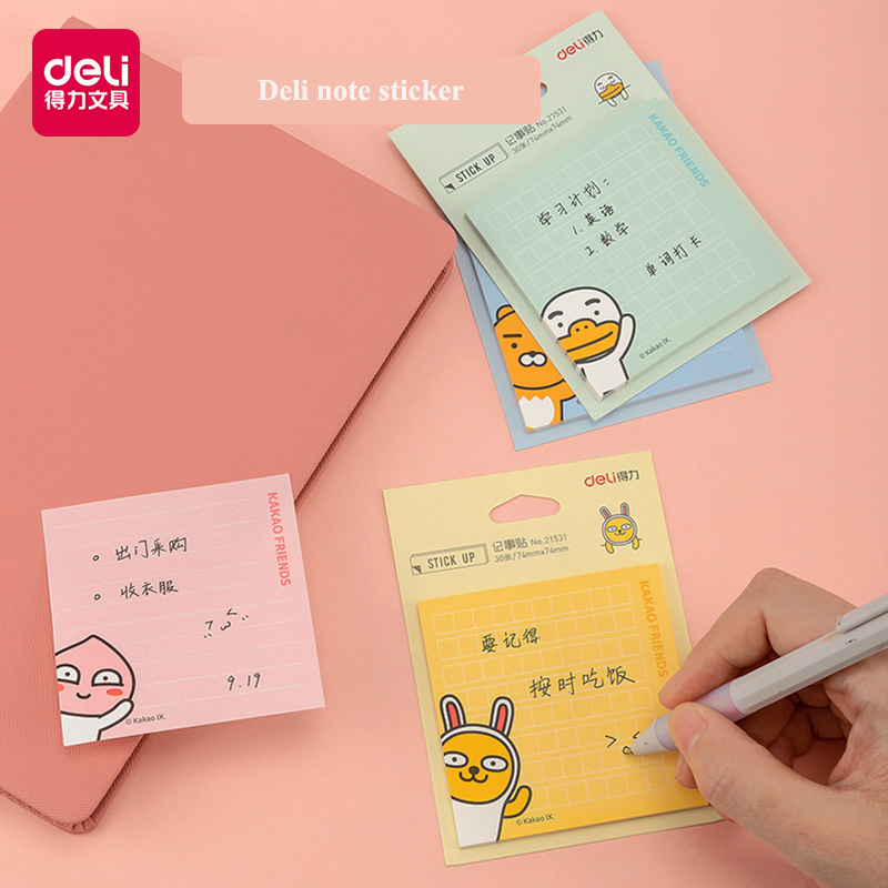 30Pieces/Bag Deli 21531 Kakao Friends Series Stick Up Memo Pads 74x74mm Cartoon Cute Korean Edition Note Pad Note Sticker