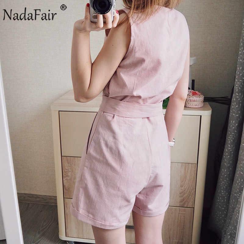 Nadafair Casual Playsuit Vrouw Off Shoulder Riem Tuniek Roze Zwart Effen Zomer Elegante Jumpsuit Korte 2020 Overalls Voor Vrouwen