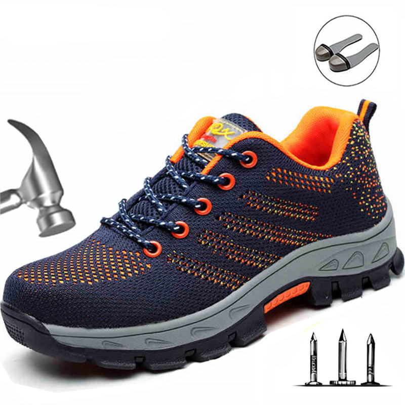 Men Steel Toe Boots Work Safety Plus Size Outdoor Tennis Breathable Protective Puncture-proof Safety Shoes For Men sneakers