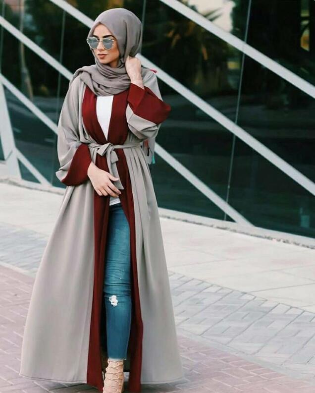 Open Abaya Patch Design Muslim Islamic Open Kimono Women Ramadan Arab Jilbab Casual Robe Gown Long Sleeve Cardigan Thobe Fashion