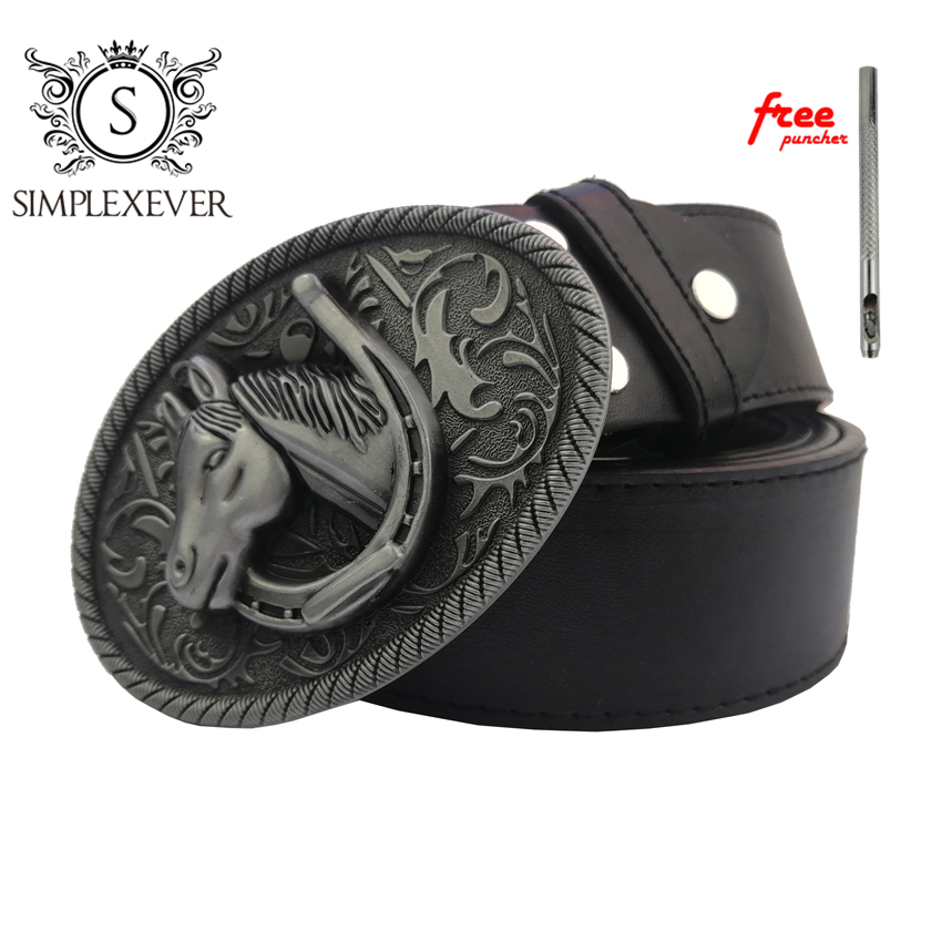 Leather Belt Buckles Horse Cowboy Belt Buckles For Men Silver Men's Belt Buckles With PU Belt