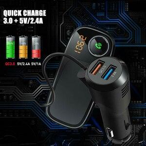 Voiture Bluetooth FM transmetteur avec support de téléphone magnétique QC 3.0 charge MP3 lecteur de musique VH99