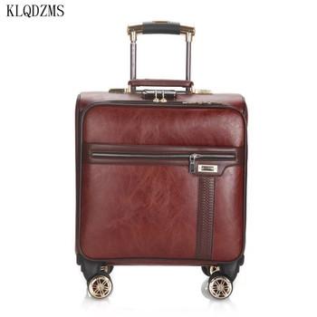 KLQDZMS 18 Cal PU klasyczne torby podróżne na kółkach wielofunkcyjna torba na bagaż na kółkach Mini walizka na kółkach tanie i dobre opinie CN (pochodzenie) 4 2kg 40cm 25cm Spinner KLQDZMS-1 Unisex