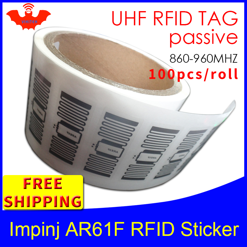 UHF RFID Tag EPC 6C Sticker Impinj MonzaR6 AR61F Wet Inlay 915mhz868m860-960MHZ 100pcs Free Shipping Adhesive Passive RFID Label